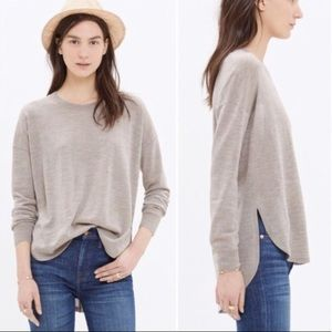 Madewell Northstar Sweater High Low in Oatmeal Tan